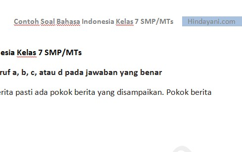 Contoh Soal Bahasa Indonesia Kelas 7 SMP MTs Try Out