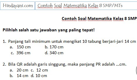 Contoh Soal Matematika Kelas 8 SMP MTs