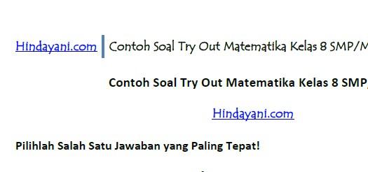 Contoh Soal Try Out Matematika Kelas 8 SMP MTs