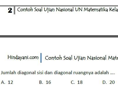 Contoh Soal Ujian Nasional UN Matematika Kelas 9 SMP MTs