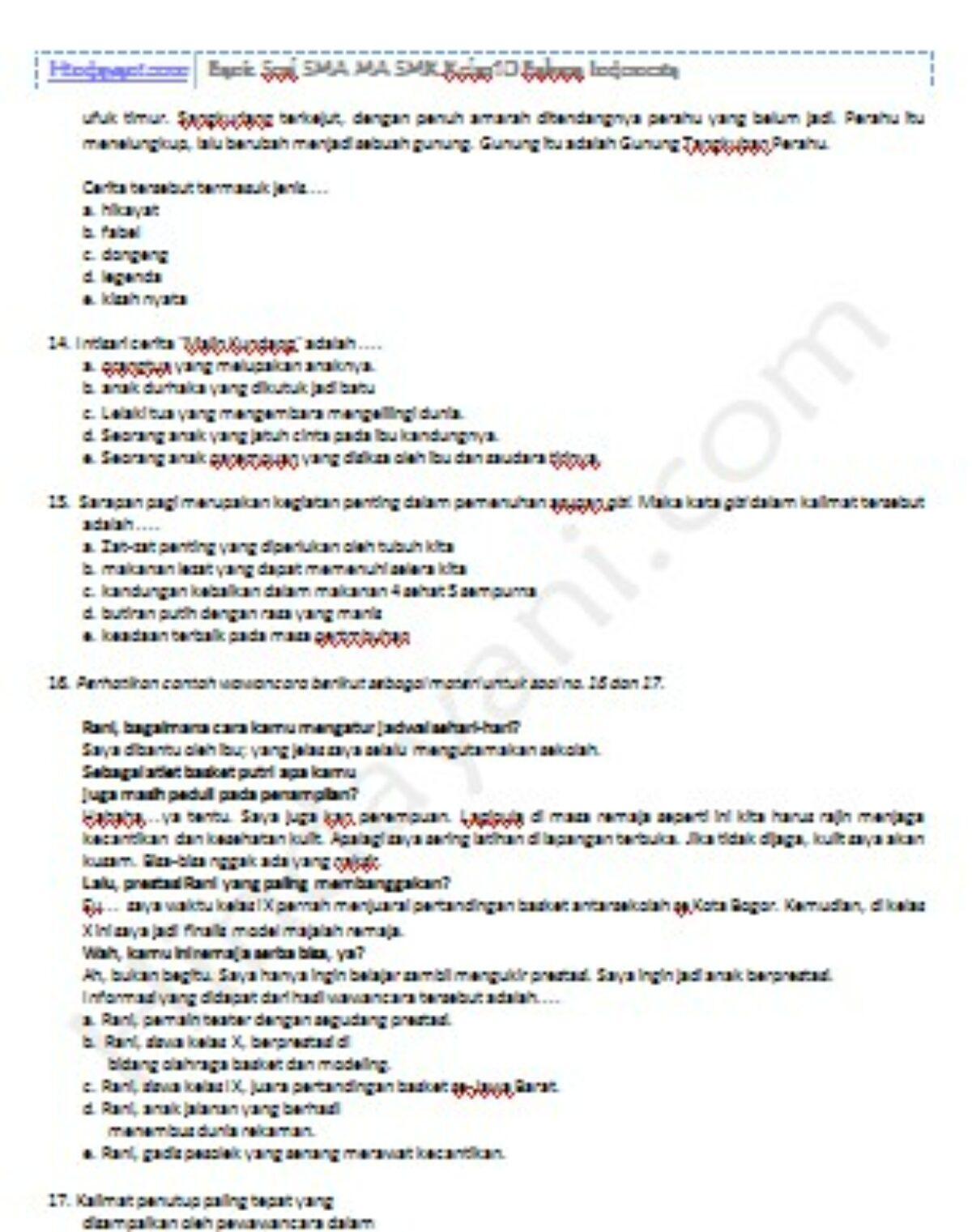 Bank Soal Sma Ma Smk Kelas 10 Bahasa Indonesia