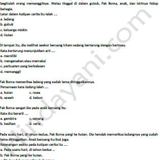 Prediksi Soal Bahasa Indonesia Kelas 5 SD dan MI – Hindayani.com