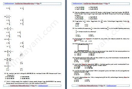 Prediksi Soal Matematika Kelas 5 SD dan MI – Hindayani.com