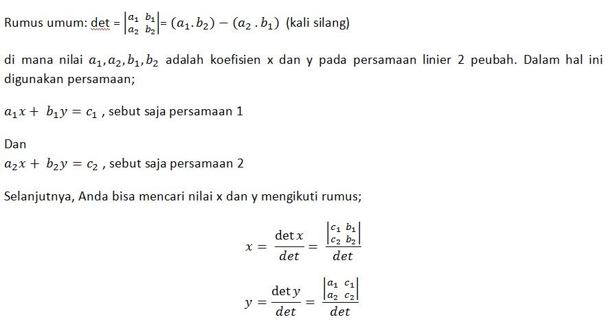 Persamaan Linier 2 Peubah dengan Metode Determinan 1