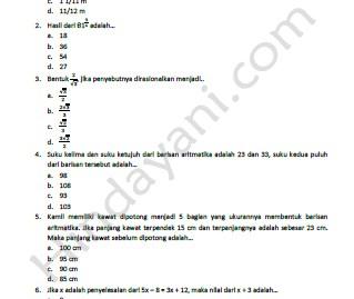 Latihan Soal Ujian Nasional Matematika TA 2013