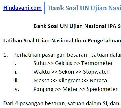 Bank Soal UN Ujian Nasional IPA SMP MTs