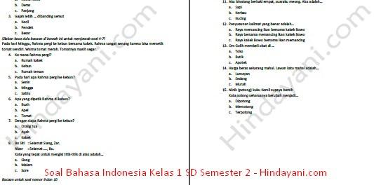 Contoh soal Bahasa Indonesia Kelas 1 SD semester 2
