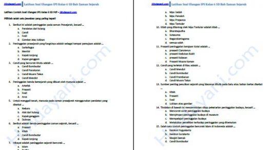 Contoh Soal Ulangan IPS Kelas 6 SD Pdf
