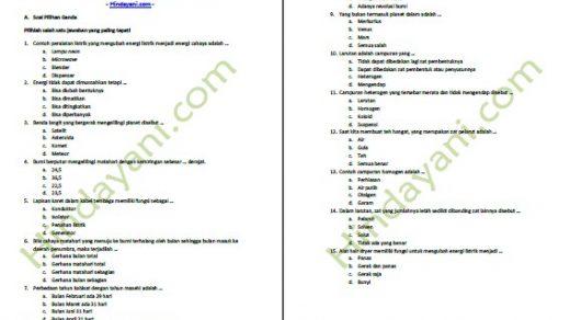 Latihan Soal UAS Semester 1 IPA Kelas 6 SD