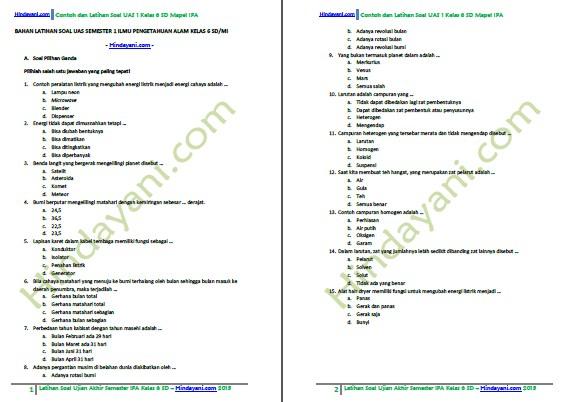 Kumpulan contoh latihan soal uas semester 1 ipa kelas 6 sd dan mi