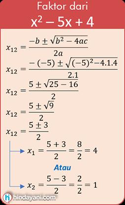 Contoh soal rumus abc mencari faktor nilai x1 dan x2