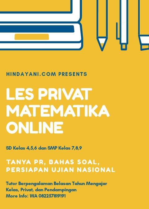 Bimbingan Belajar Matematika Online - SD Kelas 4 5 6 dan SMP Kelas 7 8 9